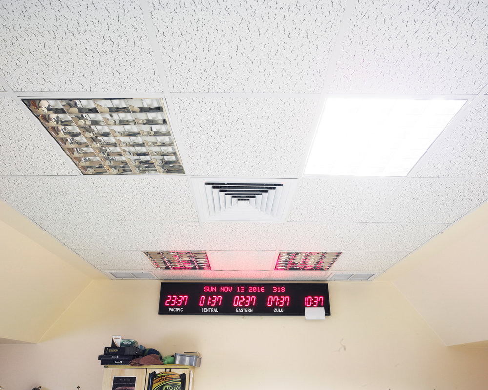 Clocks inside a hardened command post bunker in Southwest Asia, location obscured. (Jason Koxvold)