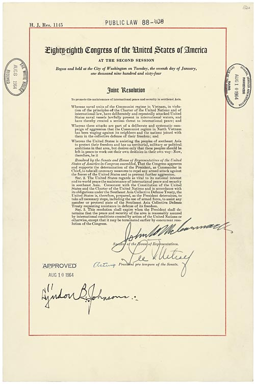 A Joint Resolution of Congress, Public Law 88-408, also known as the Gulf of Tonkin Resolution. Enacted on August 10, 1964. (Wikimedia Commons)
