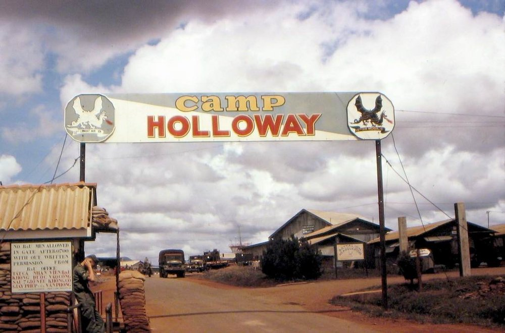 Camp Holloway was a helicopter facility and airbase constructed in 1962 to support allied military operations near Pleiku. On February 7, 1965 it was the subject of an attack by the National Liberation Front 409th Battalion. The attack destroyed four C-7 Caribous, four light attack aircraft, five helicopters, and damaged eleven helicopters. In response, President Johnson launched Operation Flaming Dart I and after another attack by the National Liberation Front, Flaming Dart II. Rolling Thunder would follow after. (Wikimedia Commons)