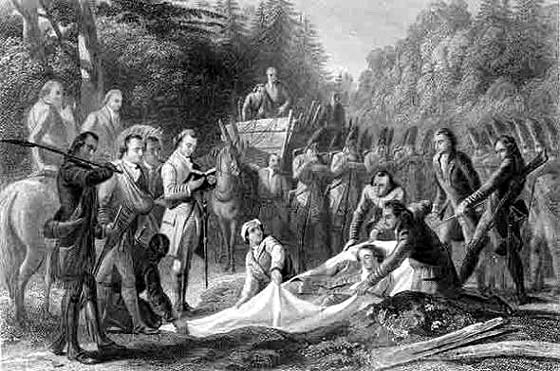 The burial of Major General Edward Braddock after the battle on the Monongahela River. After the burial, supposedly conducted by George Washington, wagons were driven across the burial site to ensure it could not be found by the French and Indians presumed to be pursuing the beaten army. ( Martha Hall )