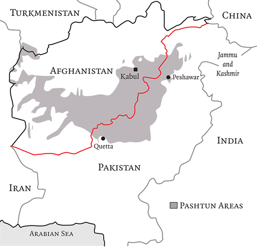 Map of Afghanistan and Pakistan featuring Pashtun Areas with the Durand Line highlighted in red (London Review of Books).