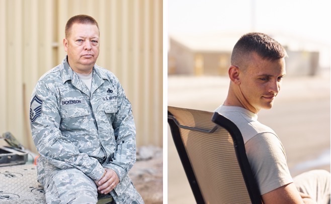 Portraits of airmen: left, a USAF Senior Master Sergeant in Southwest Asia; right, a USAF maintainer in Southwest Asia. (Jason Koxvold)