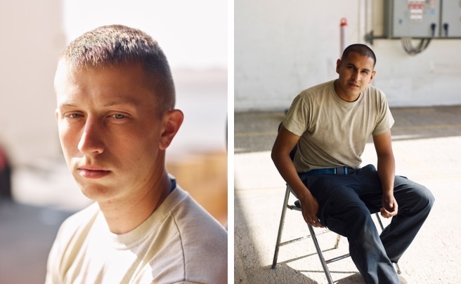 Portraits of airmen: left, an F-22 maintainer in Southwest Asia; right, an RQ-4 Global Hawk maintainer in Southwest Asia. (Jason Koxvold)