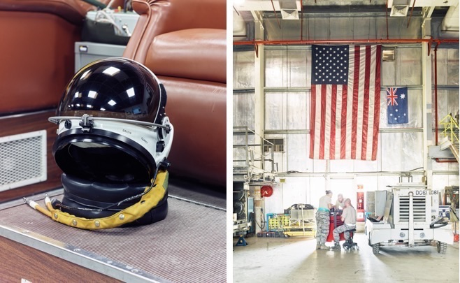 Left, a U-2 pilot's pressure helmet; right, USAF maintainers at work in Southwest Asia. (Jason Koxvold)