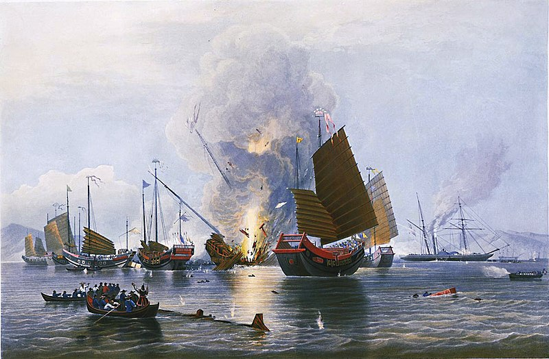 The East India Company iron steam ship Nemesis, commanded by Lieutenant W. H. Hall, with boats from the Sulphur, Calliope, Larne and Starling, destroying the Chinese war junks in Anson's Bay, on 7 January 1841. (Edward Duncan/Wikimedia)