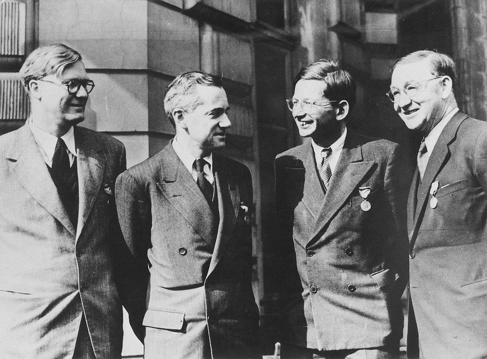 William Penney, Otto Frisch, Rudolf Peierls, and John Cockroft. (Atomic Heritage Foundation)