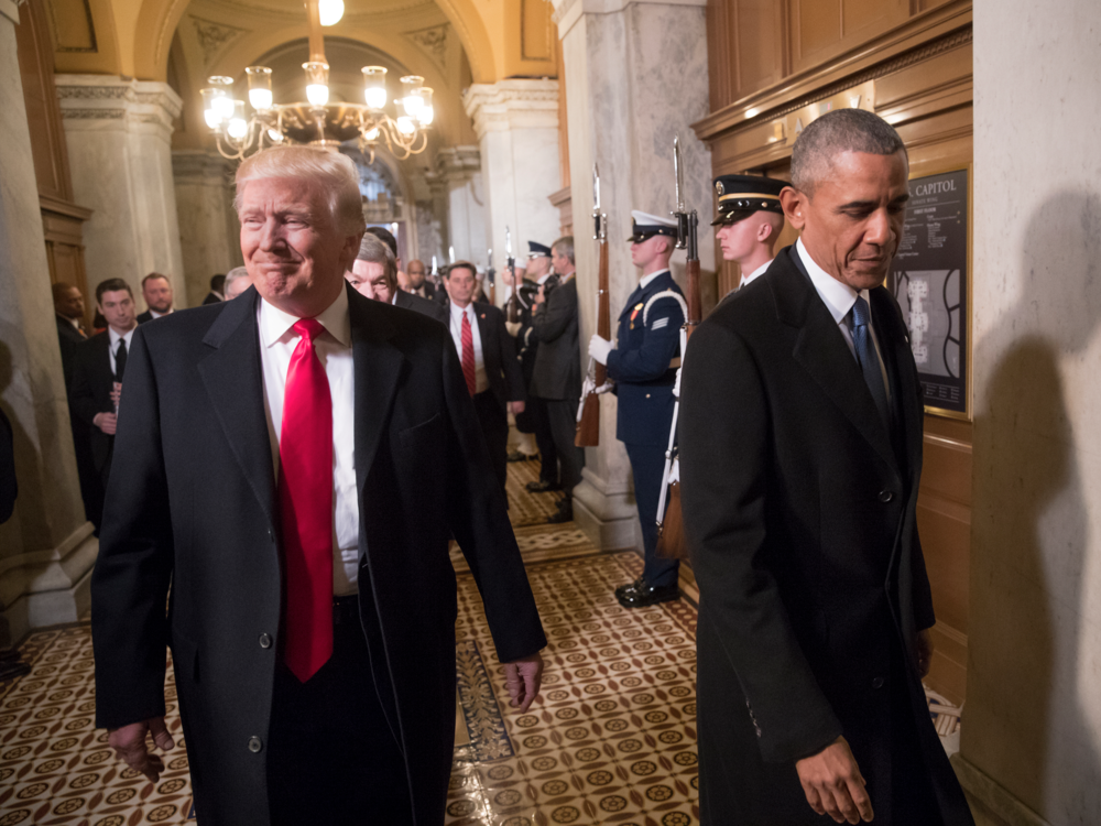 President-elect Donald Trump, left, and President Barack Obama arrive for Trump's inauguration ceremony at the Capitol in Washington, D.C., Jan. 20, 2017. (Getty Images)