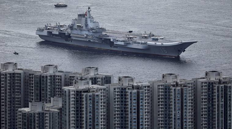 The Liaoning sails into Hong Kong for a port call, July 7, 2017, to celebrate the 20th anniversary of the People's Liberation Army (PLA) garrison's presence in the semi-autonomous Chinese city and former British colony of Hon Kong. (AP)