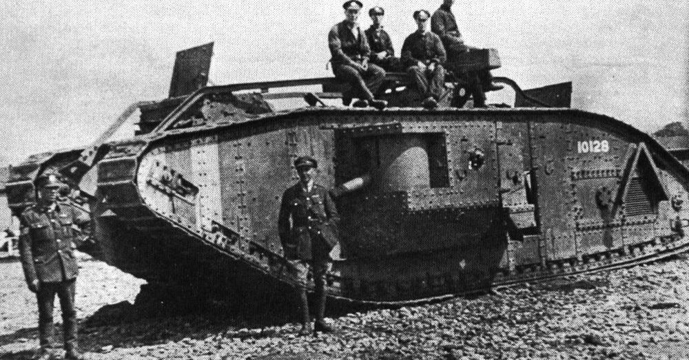 British troops pose with a new tank during the Battle of the Somme. (The Great War Project)
