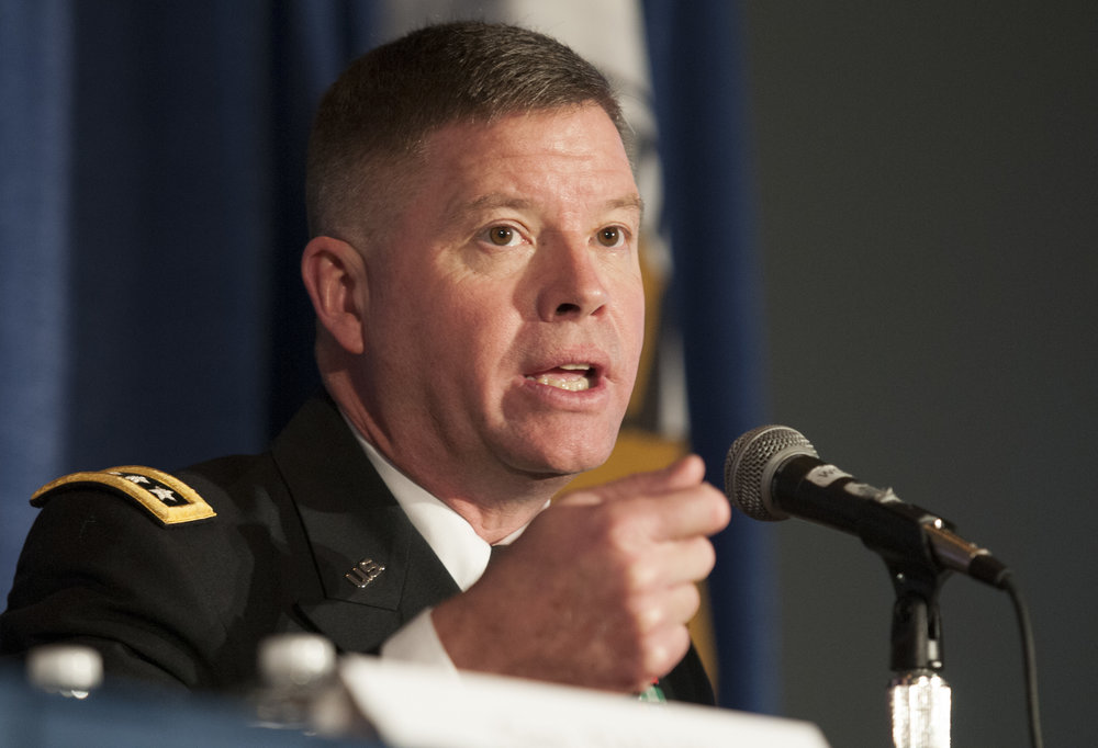 Gen. David Perkins, commander of the U.S. Army Training and Doctrine Command, talks about the multi-domain battle concept at the Association of the U.S. Army's annual meeting in Washington, D.C., Oct. 4, 2016. (U.S. Army Photo/Sean Kimmons)
