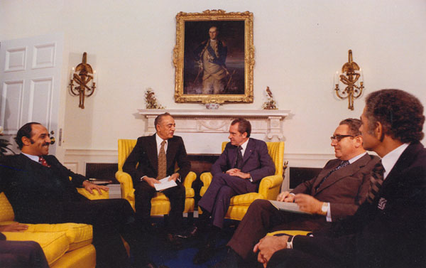 Nixon and Kissinger Meet with Four Arab Foreign Ministers, 17 October 1973: Ahmed Taiba Behima (Morocco), Sabah al-Ahmad al-Jabir al-Sabah (Kuwait), Omar Saqqaf (Saudi Arabia), and Abdelaziz Bouteflika (Algeria). Saqqaf is Nixon's right. The other two ministers have not been identified, while one of the four was not included in this photo. (Natioanal Archives)
