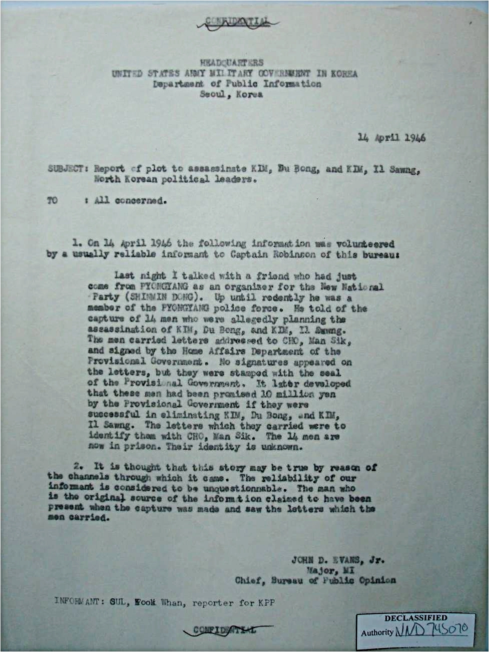 U.S. Military Government in Korea intelligence report, April 1946. (National Archives)