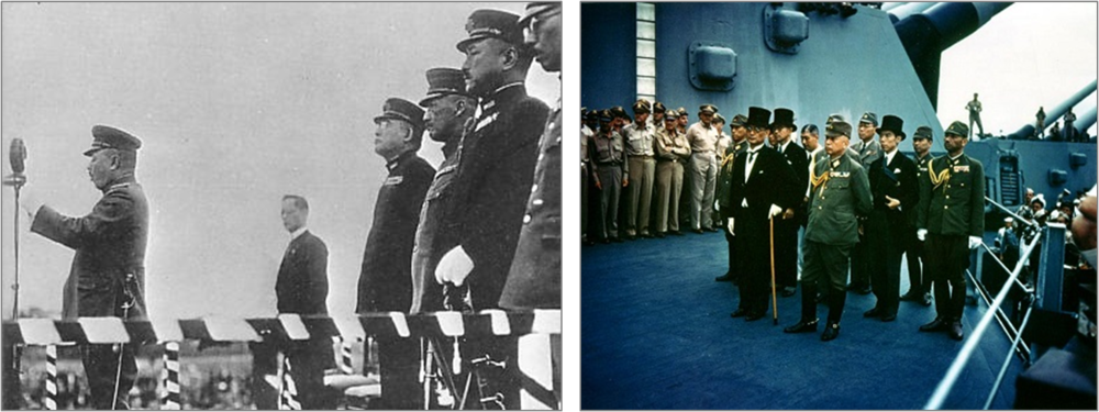 Left:  Japanese military and diplomatic leaders in Shanghai moments before a Korean bomb detonated on April 29, 1932.  General Yoshinori Shirakawa, at the microphone, died of wounds several days later. Behind him are senior diplomat Mamora Shigemitsu (lost a leg), Lieutenant General Kenkichi Ueda (lost a leg), and Admiral Nomura Kichisaburo (lost an eye).  Right:  Foreign Minister Mamora Shigemitsu on the USS Missouri at the official surrender of Japan on September 2, 1945, standing with a cane because of the loss of a leg in Shanghai in April 1932.
