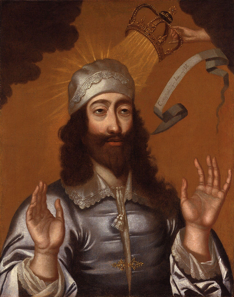Charles I of England, with a divine hand moving his crown (National Portrait Gallery/Wikimedia)