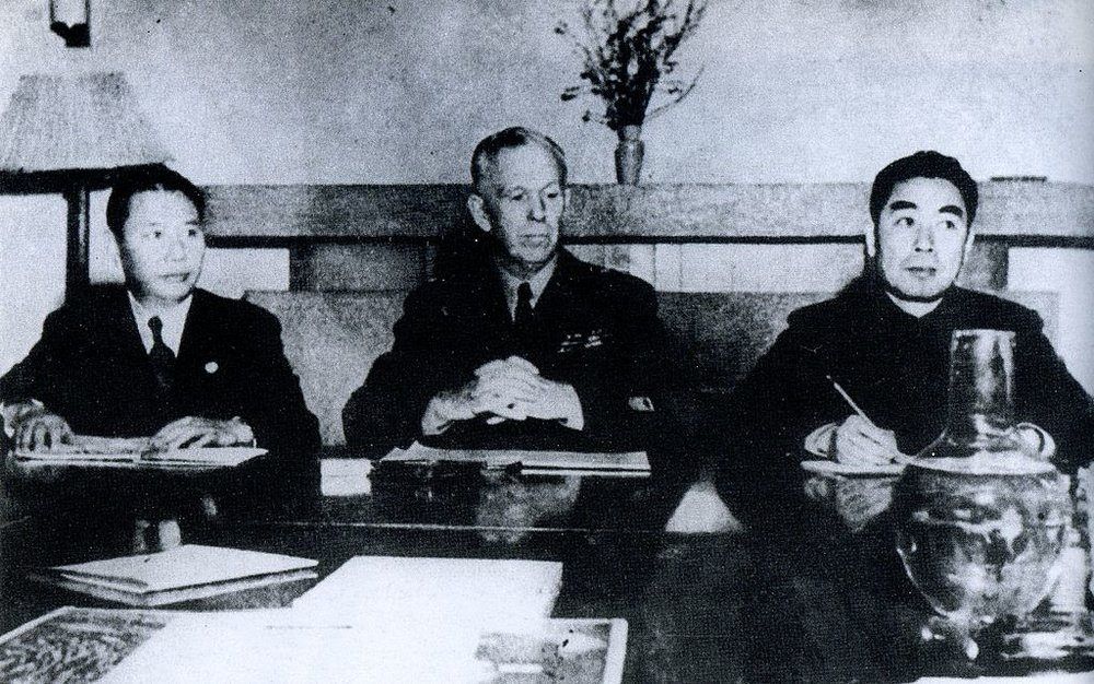 Committee of Three negotiating on a unity Chinese government in 1946, from left, Nationalist representative Zhang Qun, George C. Marshall and Communist representative Zhou Enlai. (Zhou En Lai, Central Archive Press/Wikimedia)