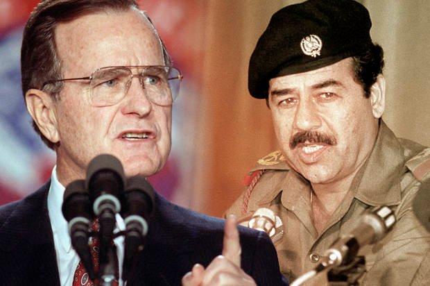 George H. W. Bush and Saddam Hussein (Ron Edmonds/AP/Salon)