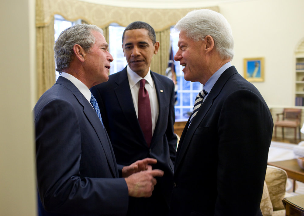 President Obama  and former Presidents Bush and Clinton in the Oval Office on 16 January 2010. (White House Photo/Pete Souza)