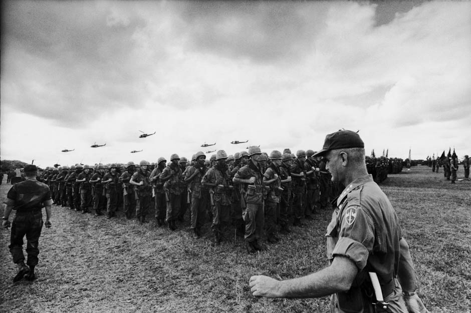 American military commander General William C. Westmoreland (right) reviews the men of the US Army's 1st Infantry Division | Vietnam, November 1966. (Photo by Co Rentmeester/The LIFE Picture Collection/Getty Images)