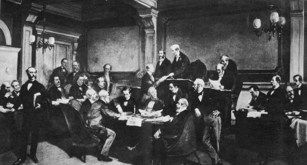 Some of the major European powers signing the First Geneva Convention in 1864, by by Charles Édouard Armand-Dumaresq (Wikimedia)