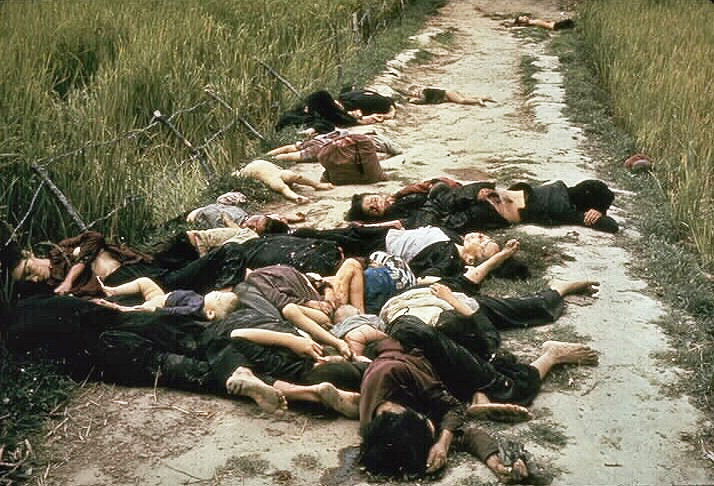 The aftermath of the My Lai massacre on March 16, 1968, showing mostly women and children dead on a road. (Ronald L. Haeberle/U.S. Army Photo/Wiimedia)
