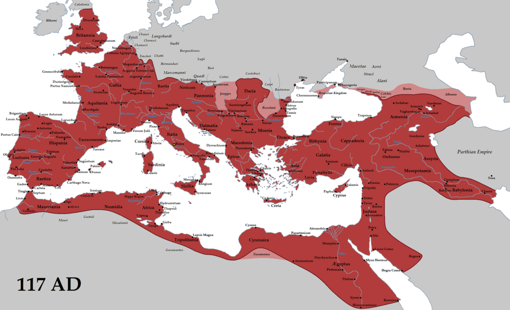 The Roman Empire (red) and its clients (pink), at its greatest extent in 117 AD during the reign of emperor Trajan. (Wikimedia)