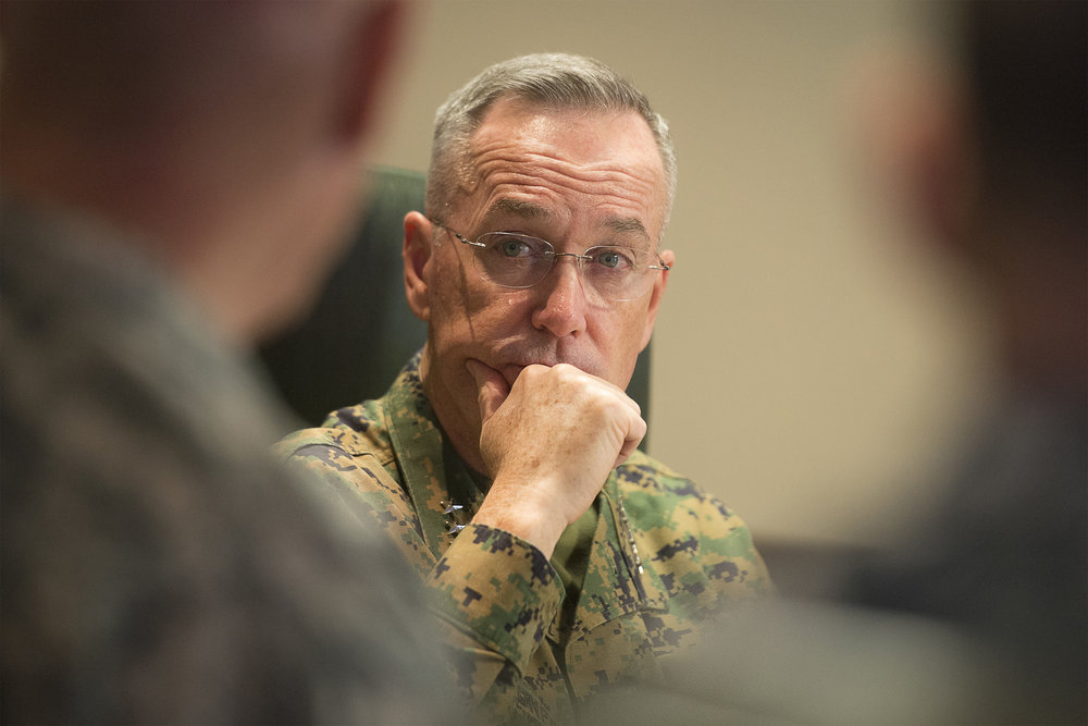 General Joseph F. Dunford Jr., Chairman of the Joint Chiefs of Staff, meets with Commander, U.S. Africa Command, in 2016. (Navy Petty Officer 2nd Class Dominique A. Pineiro/DoD Photo)