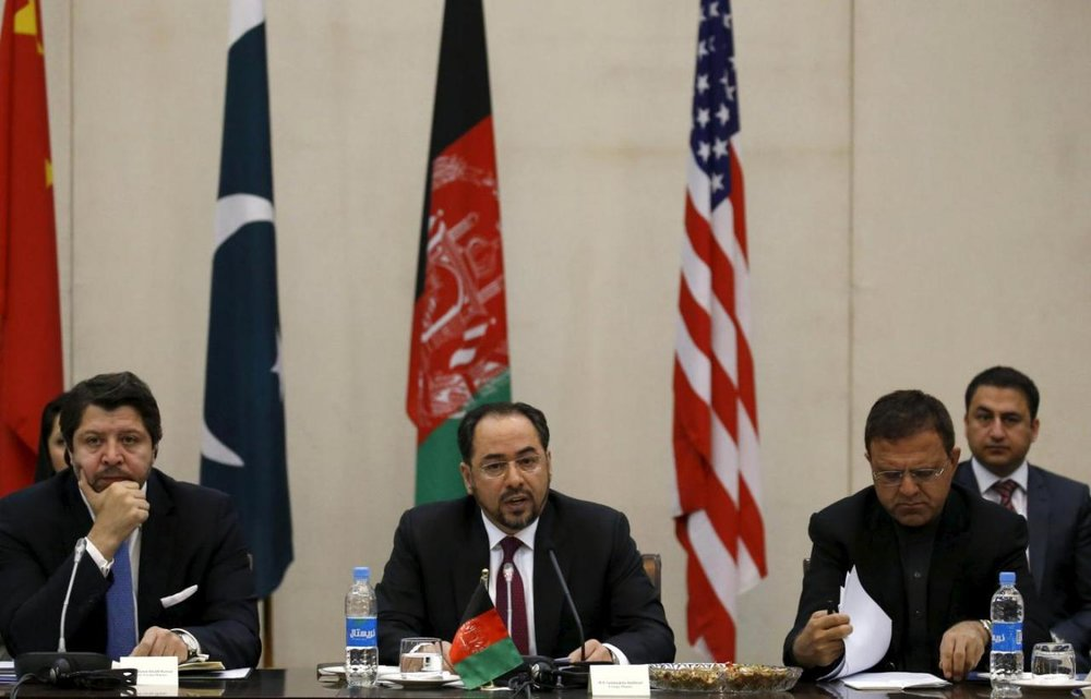 Afghanistan's Foreign Minister Salahuddin Rabbani (C) speaks during a one day meeting with Pakistan, United State and Chinese delegations in Kabul, Afghanistan January 18, 2016. (Omar Sobhani/Reuters)
