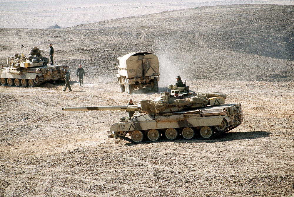 A pair of AMX-30 main battle tanks and a truck of the French 6th Light Armored Division pause outside Al-Salman during Operation Desert Storm,3 March 1991 | Wikimedia Commons