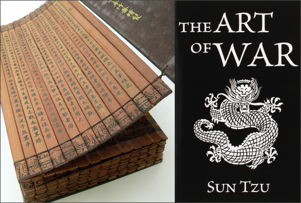 The Art of War in a classical bamboo book (Wikimedia) and a modern book (Amazon)