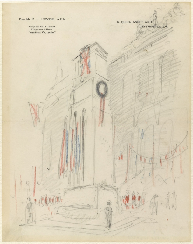 One of Lutyens' sketches of the proposed cenotaph in situ with coloured flags, imagined as it would be during a remembrance ceremony with a crowd gathered before it. (Imperial War Museum)