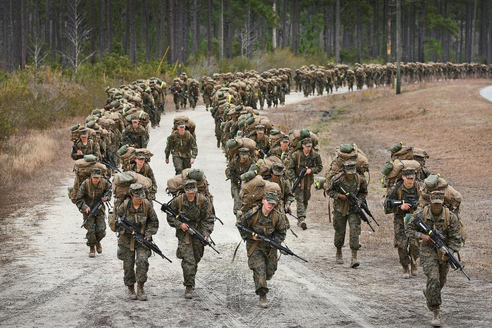 A company of Marines participate in a training march on Feb. 22, 2013 at Camp Lejeune, (N.C. Scott Olson/Getty)