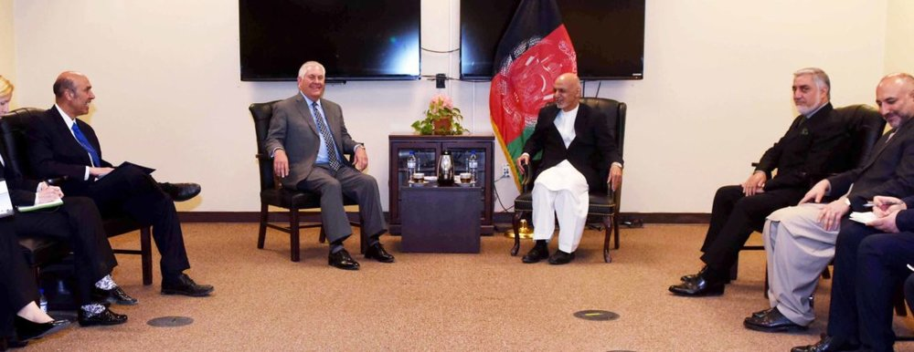 The U.S. Secretary fo State and President of Afghanistan.