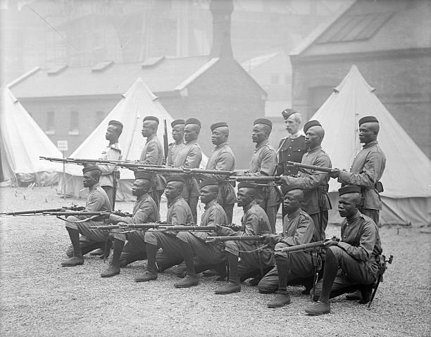 A contingent of armed frontier police from Sierra Leone at Chelsea Barracks in London, June 1897 | Reinhold Thiele | Getty Images