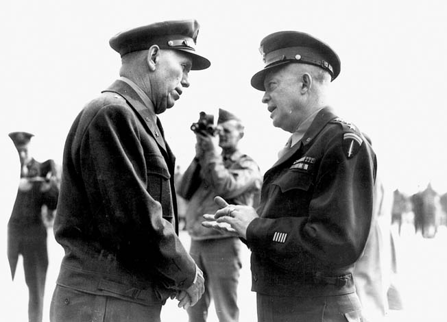 General Marshall, right, visits with General Dwight D. Eisenhower in Paris following the liberation of the City of Light from Nazi occupation in August 1944.