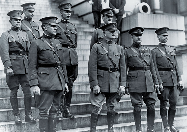 The staff of General John J. Pershing (front row, second from left) during the Great War in 1919. Pictured with Pershing is Fox Conner (front left) and George C. Marshall (back row third from left).