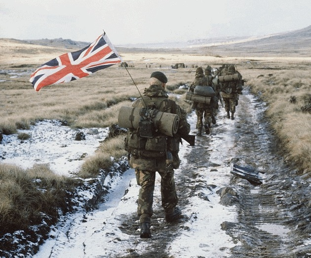 British forces in the Falklands, 1982.