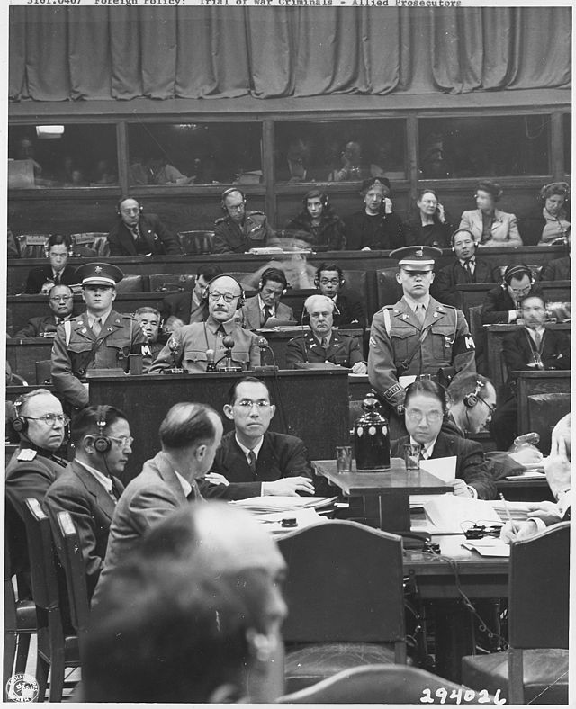 Hideki Tōjō takes the stand at the  Tokyo war crimes tribunal .