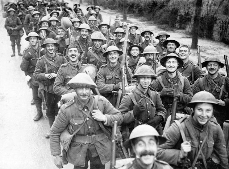 Soldiers marching toward the trenches of World War I. (BBC)