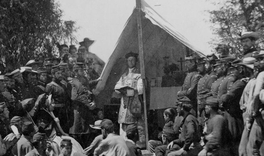 A Roman Catholic army chaplain celebrating a Mass for Union soldiers and officers during the American Civil War. (Wikimedia)