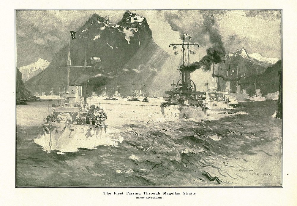 """""""The Fleet Passing Through the Magellan Straits"""" by naval artist Henry Reuterdahl, who traveled with Roosevelt's Great White Fleet aboard the USS Culgoa (Wikimedia)"""