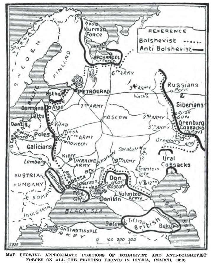The positions of the Allied expeditionary forces and of the White Armies in European Russia, 1919. (Wikimedia)