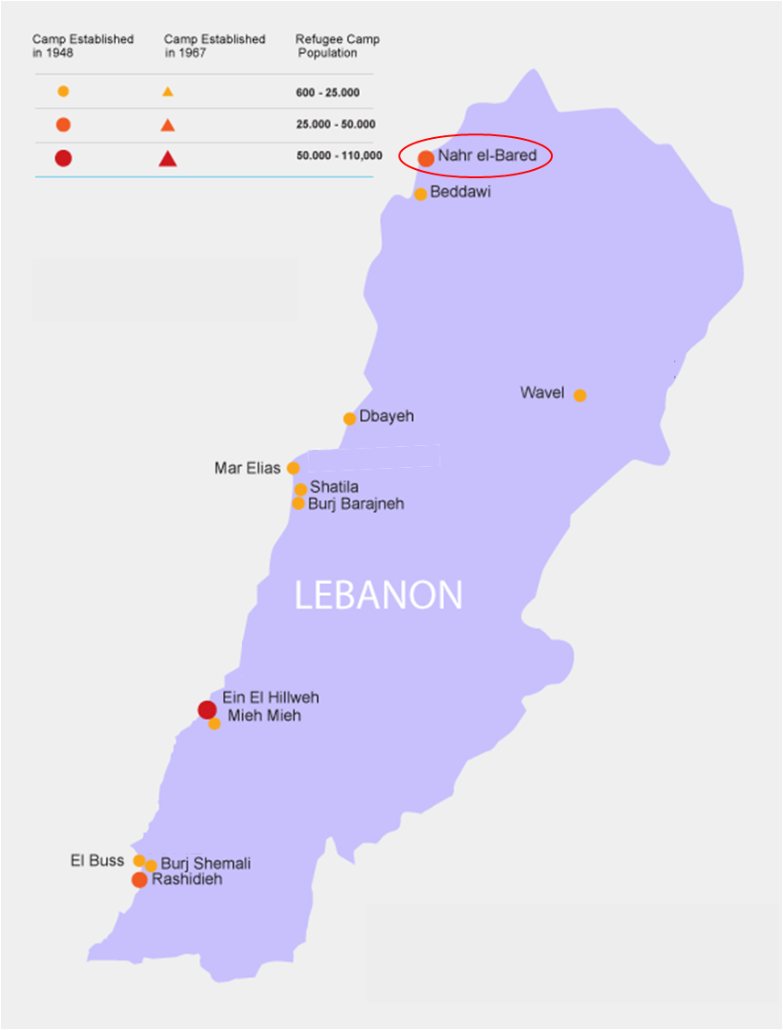 "The Twelve Palestinian Refugee Camps Geographic Locations in Lebanon including Nahr Al-Bared. United Nations Relief and Works Agency for Palestine Refugees in the Near East (UNRWA), ""Where we Work,"" last modified July 1, 2014, accessed February 26, 2018,  https://  www.unrwa.org/where-we-work/lebanon"