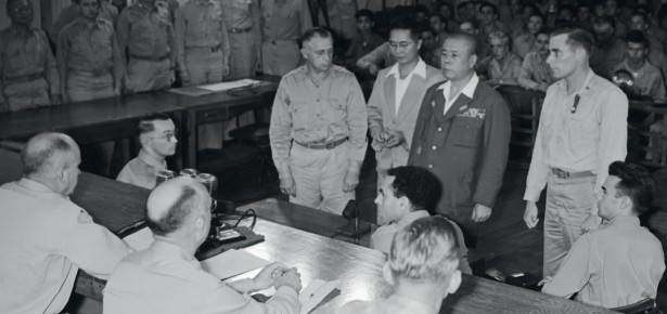 Masaharu Homma (本間 雅晴) commander of the the Japanese 14th Army which perpetrated the Bataan Death March, on trial after the war. (CambridgeBlog.org)