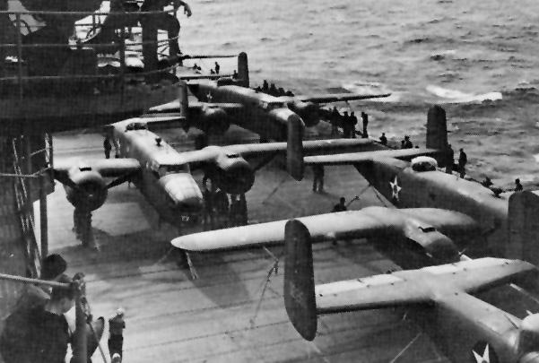 B-25B  Mitchell  bombers aboard the USS  Hornet  (CV-8) during the Doolittle Raid. (Wikimedia)