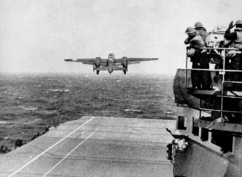 A U.S. Army Air Forces North American B-25B  Mitchell  bomber takes off from the aircraft carrier USS  Hornet  (CV-8) during the Doolittle Raid.