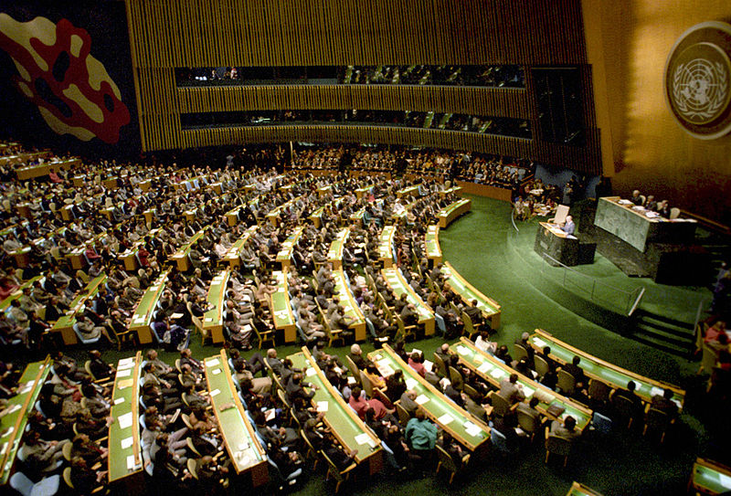 Mikhail Gorbachev, Soviet general secretary, addresses the UN General Assembly in December 1988. (Yuryi Abramochkin/RIA Novosti Archive/Wikimedia)