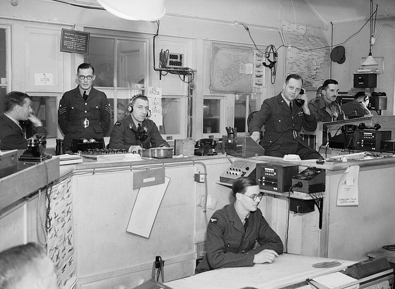 Interior of RAF Fighter Command's Sector 'G' Operations Room at Duxford, Cambridgeshire, September 1940. (S.A.Devon,RAF Official Photographer/Imperial War Museum/Wikimedia)