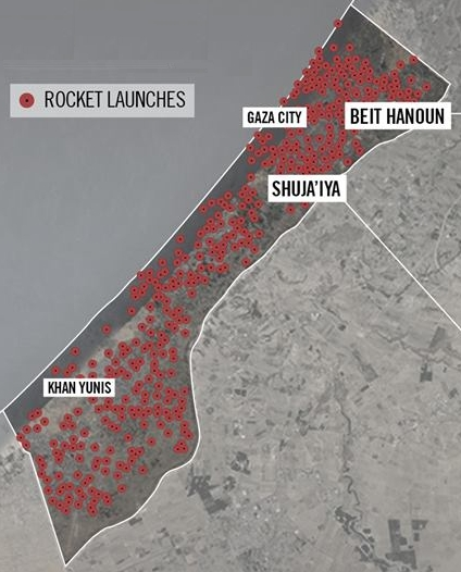 Israeli Defense Forces map of rocket launch sites in Gaza during Operation Protective Edge ( Wikimedia Commons )