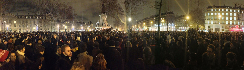 A moment of silence on the Place de la République, following the Charlie Hebdo attack in Paris  (Wikimedia)
