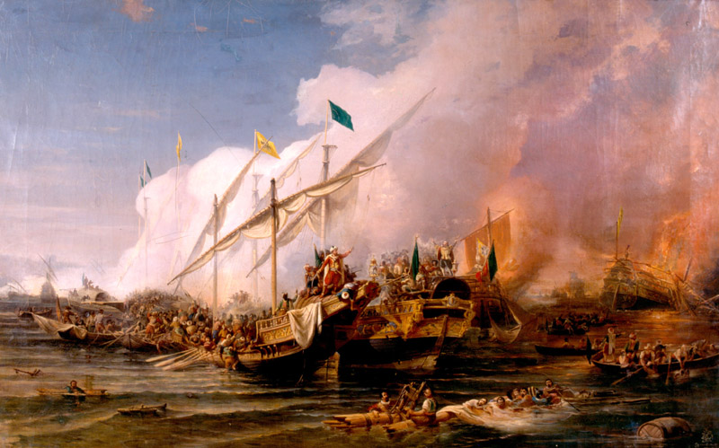 """""""Barbarossa Hayreddin Pasha defeats the Holy League of Charles V under the command of Andrea Doria at the Battle of Preveza (1538)"""" by Ohannes Umed Behzad (WIkimedia)"""